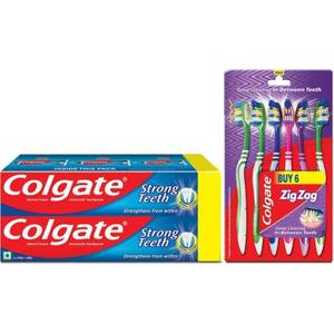 Colgate Anti-Cavity Strong Teeth Toothpaste - 500 gm with ZigZag Toothbrush Medium (Pack of 6) Medium Toothbrush  (Pack of 7)