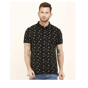 Levi's  Printed Men Polo Neck Black T-Shirt