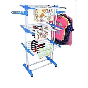 SHP HIGH_QUALITY DUTY DOUBLE POLE 3-LAYERED Carbon Steel, Plastic Floor Cloth Dryer Stand  (Multicolor)