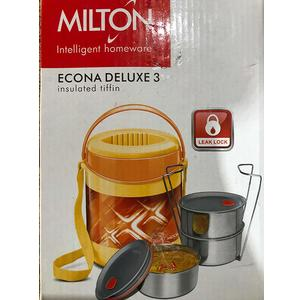 Milton Lunch Box for Office Econa Delux 3 Container Hot (Yellow)(750 ml)