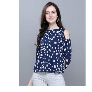 Selvia  Casual Cold Shoulder Geometric Print, Printed Women Blue, White Top