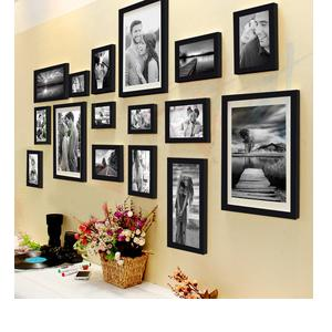 Art Street Shooting Star Set of 16 Individual Photo Frame- Multiple Size (3 Units of 8x10, 4 Units of 6x8, 4 Units of 5x7, 3 Units of 4x6, 2 Units of 6x10, Black)