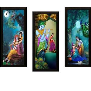SAF SET OF 3 RADHA KRISHNA Digital Reprint 17 inch x 24 inch Painting