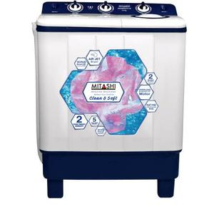 Mitashi 6.5 kg Semi Automatic Top Load Washing Machine White, Blue  (MiSAWM65V35 AJD)