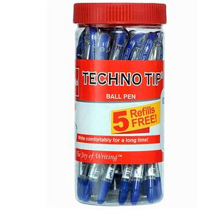 Cello Pens Technotip Ball Pen Set with Free Refills - Pack of 20 (Blue)
