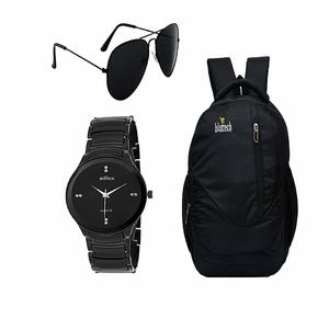 BLUTECH Black Aviator Sunglass for Mens and Black Bag for Laptop and Black DIAL Watch