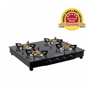 Lifelong Glass Top Gas Stove, 4 Burner Gas Stove, Black (1 year warranty with Doorstep Service)