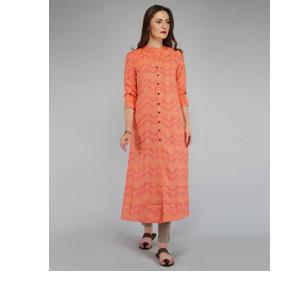 Metro Fashion  Women Printed, Abstract Straight Kurta  (Orange)