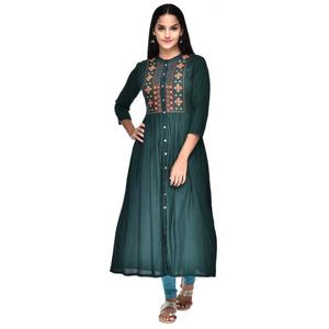 Gulmohar Jaipur  Women Embroidered Frontslit Kurta  (Dark Green)