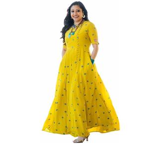 6TH AVENUE STREETWEAR  Casual Embroidered Women Kurti  (Yellow)