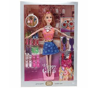 Caddle&toes Girl's Barbie Doll House Set Pink with Crown, Necklace, Slippers, 8 Sets of Fashion Accessories