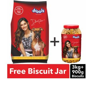 Drools Chicken And Egg Adult Dog Food 3 Kg With Free 900 Gm Biscuits Ats Shopping