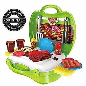 ToysCentral BBQ Playset, 23 Pcs Play Food with Carry Case, Pretend Play Toys for Kids, Multicolour