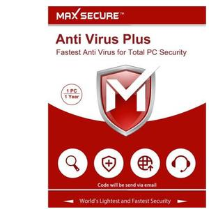 Max Secure 1 User 1 Year Anti-virus (Email Delivery - No CD)  (Personal Edition)