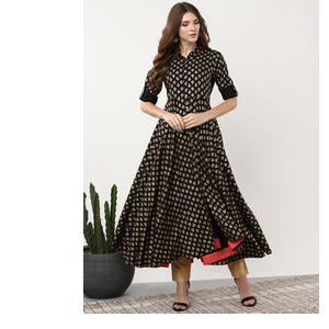 Sangria Women Black & Golden Printed Anarkali Kurta