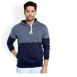 Campus Sutra Men Blue Solid Hooded Sweatshi