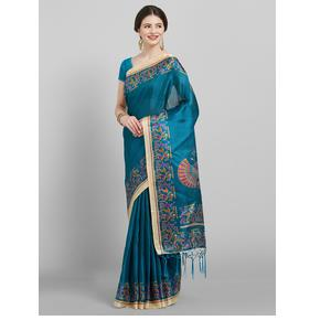 Saree mall Teal Blue Solid Art Silk Saree