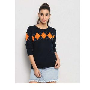 Metronaut  Self Design Crew Neck Casual Women Dark Blue Sweater