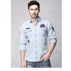 Ecko Unltd Men Blue Slim Fit Faded Denim Casual Shirt