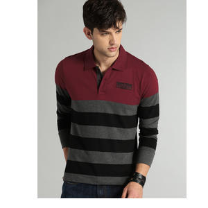Roadster Men Charcoal Grey & Maroon Striped Polo T-shirt