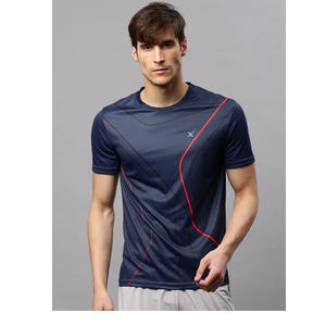 HRX by Hrithik Roshan Men Navy Blue Printed Round Neck Active T-Shirt