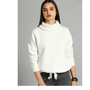 Roadster Women White Solid Pullover Sweatshirt