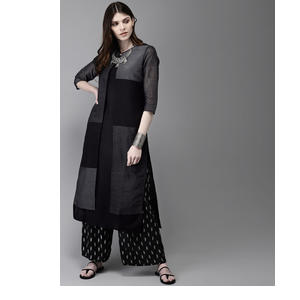Anouk Women Black & Charcoal Grey Colourblcoked A-Line Layered Kurta