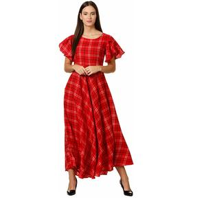 Klook Women's Crepe A-Line Maxi Dress - Crimson Red