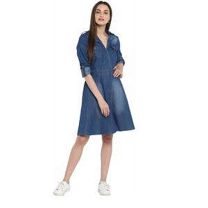 StyleStone (3323DnmCrossBtnDrs) Women's Denim Dress with V Neck
