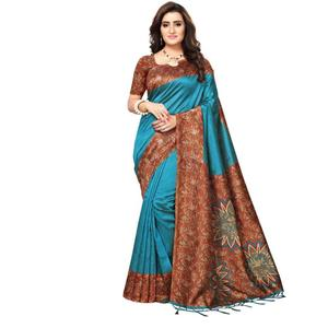 Saara  Printed Daily Wear Poly Silk Saree  (Blue)#JustHere