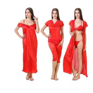 MILIT  Women Nighty with Robe  (Red)
