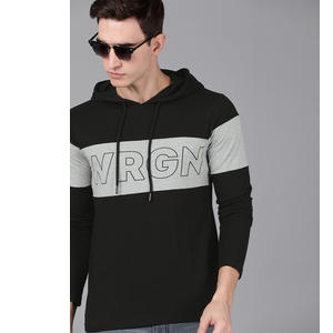 WROGN Men Black Printed Hooded T-shirt