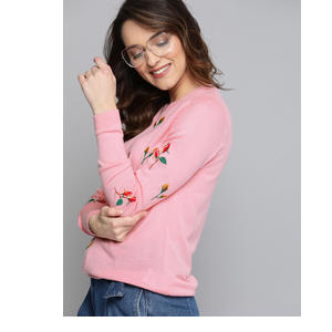 Mast & Harbour Women Pink Embroidered Pullover Sweater