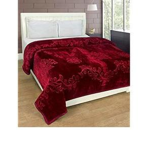 HOMECRUST Blankets Solid Colour Ultra Soft Floral Double Bed Mink Winter Blanket 220x200 cms Polyester (Maroon)