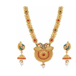 Apara Traditional South Indian Gold Plated Peacock Long Haram Mala Necklace Set Jewellery for Women