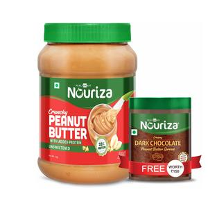 Nouriza High-Protein Natural Peanut Butter with Added Whey Protein, Unsweetened, Crunchy, 1 Kg (Offer- Free 200g Dark Chocolate Peanut Butter)