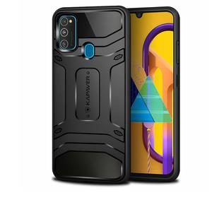 KAPAVER® Samsung Galaxy M30s Rugged Back Cover Case MIL-STD 810G Officially Drop Tested Solid Black Shock Proof Slim Armor Patent Design (Only for Galaxy m30s)
