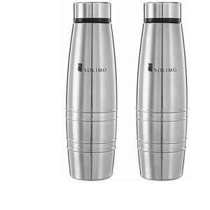 Amazon Brand - Solimo Sparkle Stainless Steel Fridge Water Bottle, 1000 ml, Set of 2