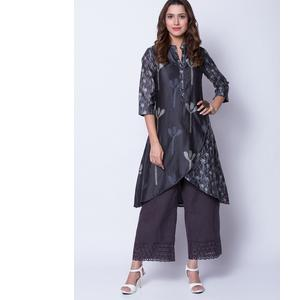 Black Cotton Silk Asymmetric Suit Set