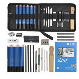 TIMESETL 35pcs Drawing and Sketching Pencil Set, Professional Sketch Pencils Set in Zipper Carry Case, Art Supplies Drawing Kit with Graphite Charcoal Sticks Tool Sketch Book for Adults Kids