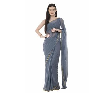 Bunny Creation Women's Chiffon Plain Saree With Blouse Piece (Grey; Free Size)