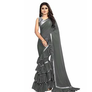 Sat Creation Women's Georgette Ruffle Saree With Blouse Piece (Free Size)