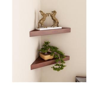 Home Sparkle Set of 2 Corner Wall Shelves MDF (Brown)
