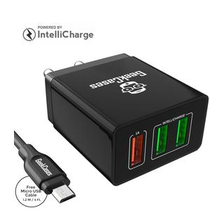 GeekCases ZipCube 3.4A Universal Wall Charger Adapter for Smartphones and Other Devices (Black with Micro USB Cable)