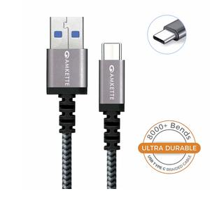 Amkette Power Pro USB 3.0 Braided Charge and Sync Fast Charging Type C Cable - 1.5 Meter (Black-Silver)