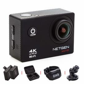 NETGEN Action Camera 16 MP 4k WiFi Ultra HD Waterproof with Full Pack Including Car Mount, Carry Bag, Control Watch, 2 Batteries