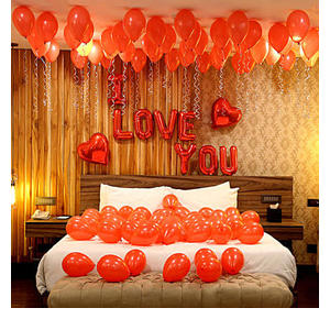 Romantic Red Themed Love You Balloon Decorations