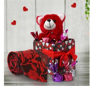 TIED RIBBONS Valentine Day Gift for Boys Boyfriend Husband Him - Gift Combo ( Teddy, Handmade Dark Chocolates with Gift Box and Men's Necktie )