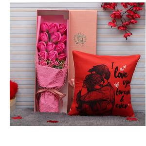 TIED RIBBONS Valentines Day Gift for Girlfriend Wife Girls Her - Love Gift Combo (Bouquet of Dark Pink Scented Rose Flowers and Cushion Cover with Filler 12 X 12 Inch)