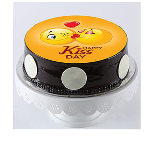 Kissing Emojis Truffle Photo Cake- Half Kg